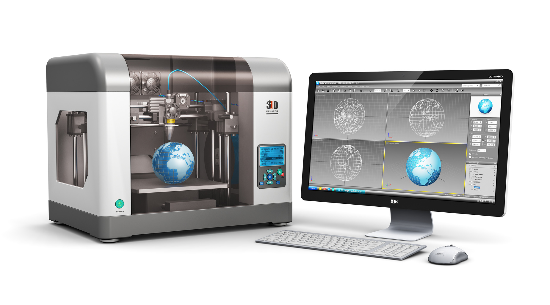 Creative 3D ABS plastic printing technology business concept: modern 3D printer and professional desktop workstation computer PC with 3D design software interface isolated on white background