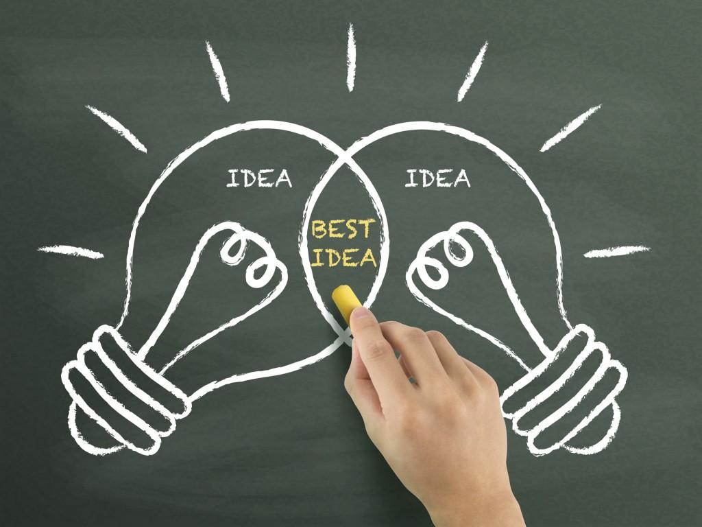 best idea light bulbs concept drawn by hand