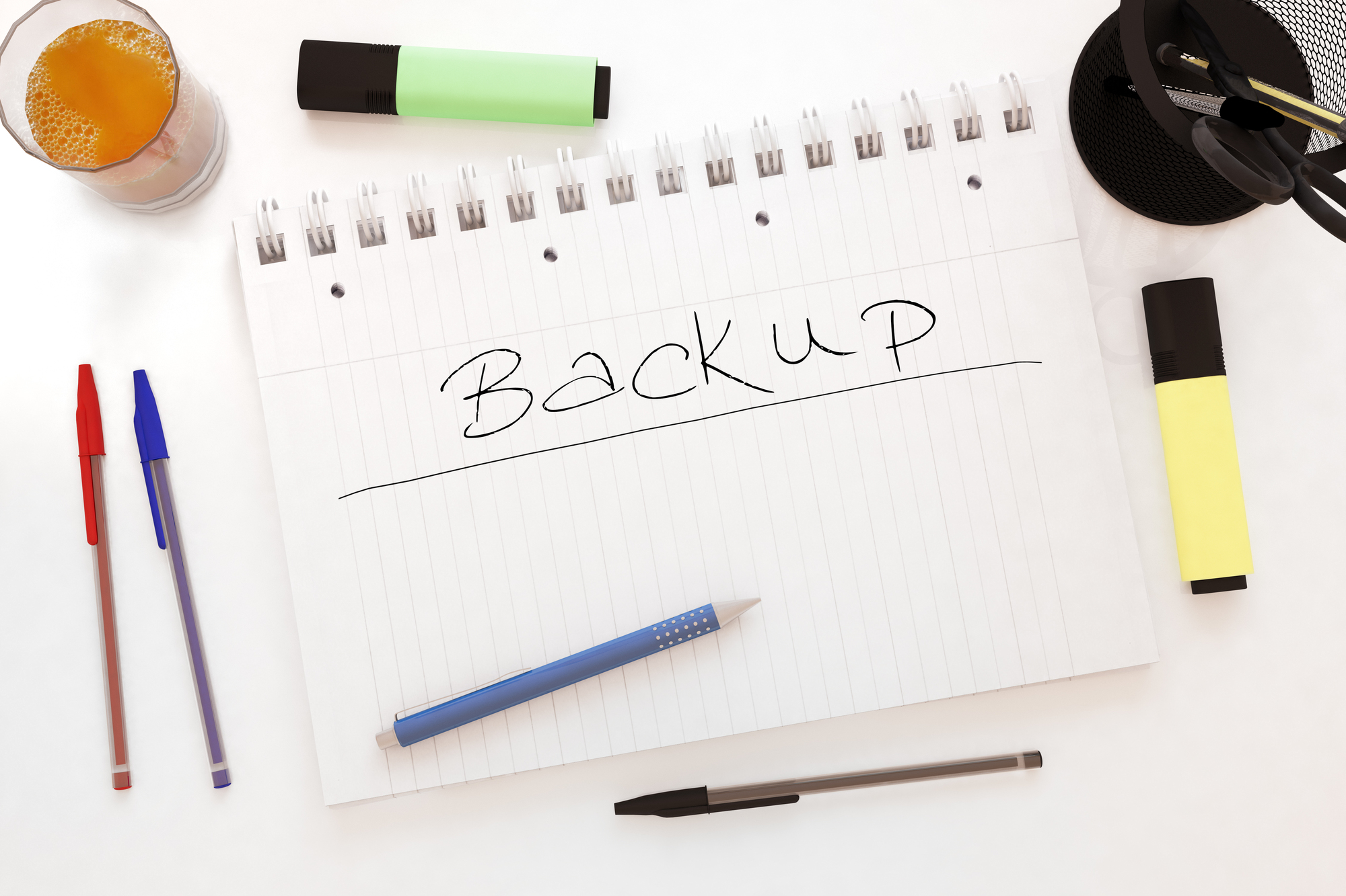 Backup - handwritten text in a notebook on a desk - 3d render illustration.