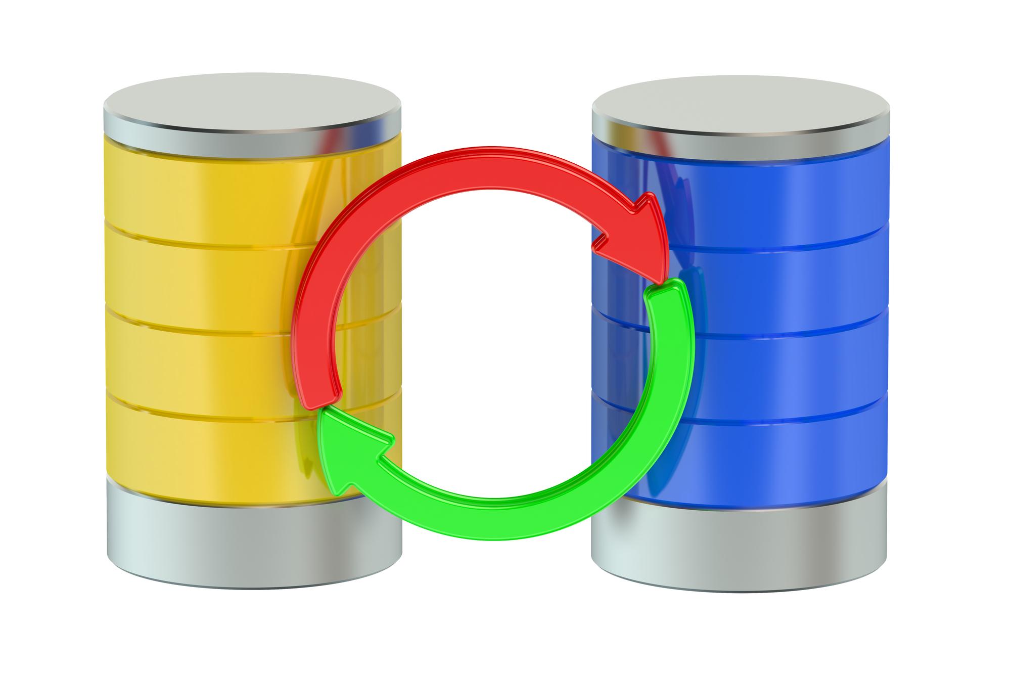 Database computing storage isolated on white background
