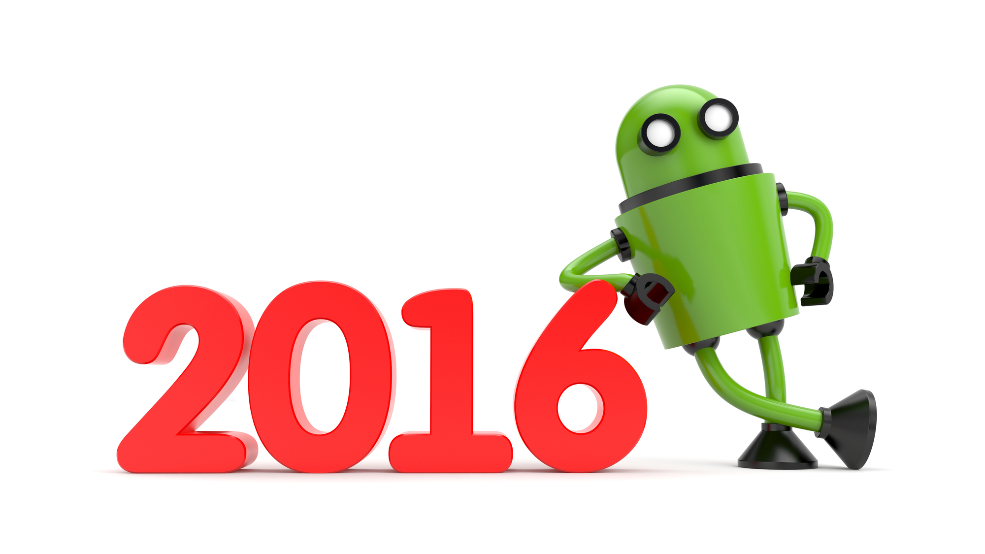 Green 3D Robot leaning on 2016