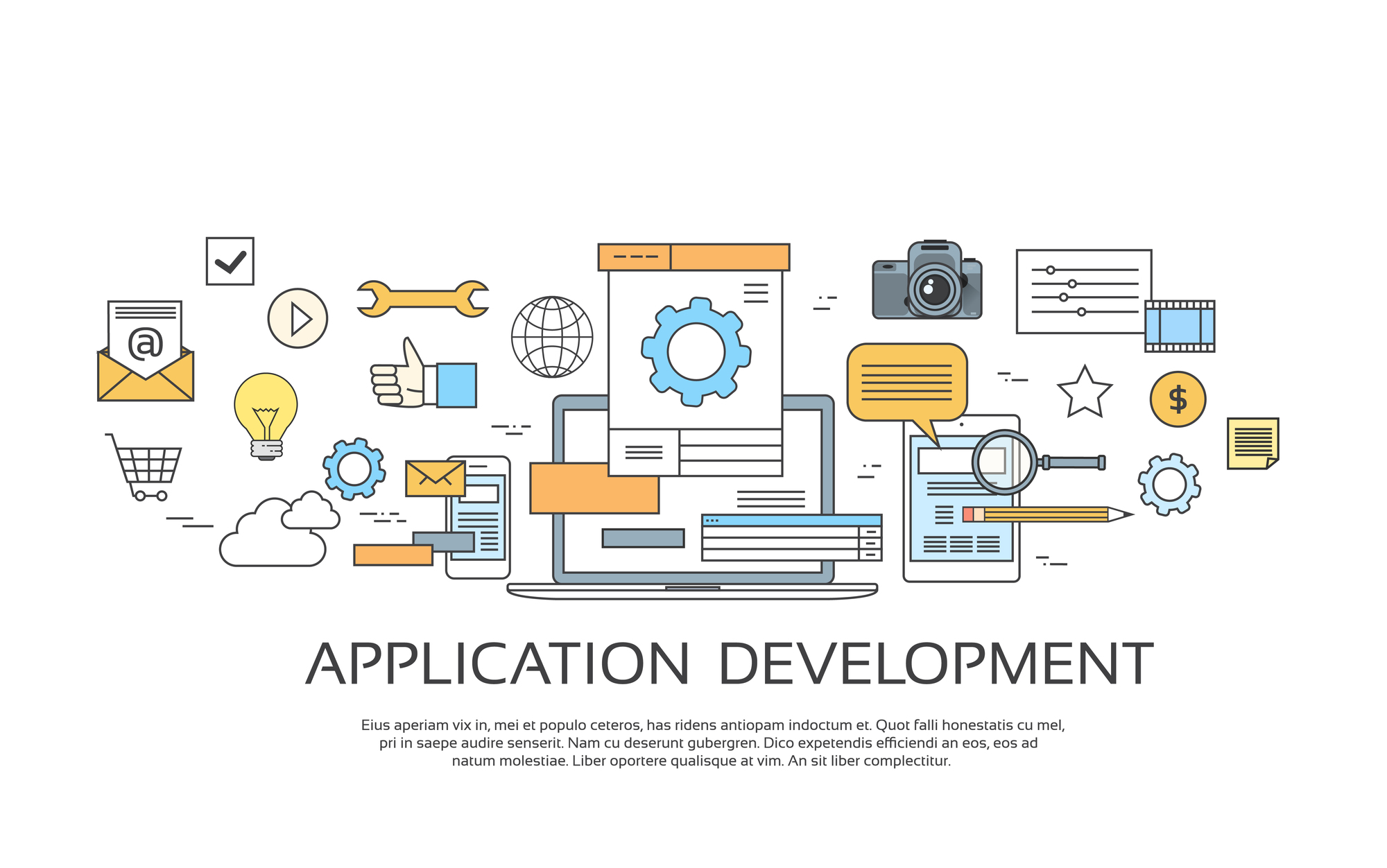 Application Development Create Design Site Programming Coding Set Icon Collection Vector Illustration