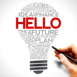 HELLO bulb word cloud, business concept
