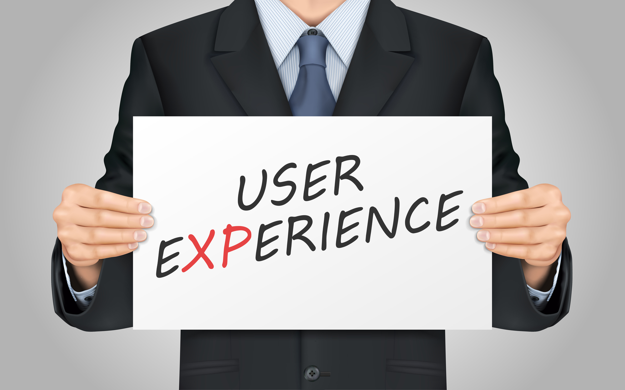 close-up look at businessman holding user experience poster