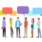 Casual People Group Chat Bubble Communication Social Network Flat Design Vector Illustration