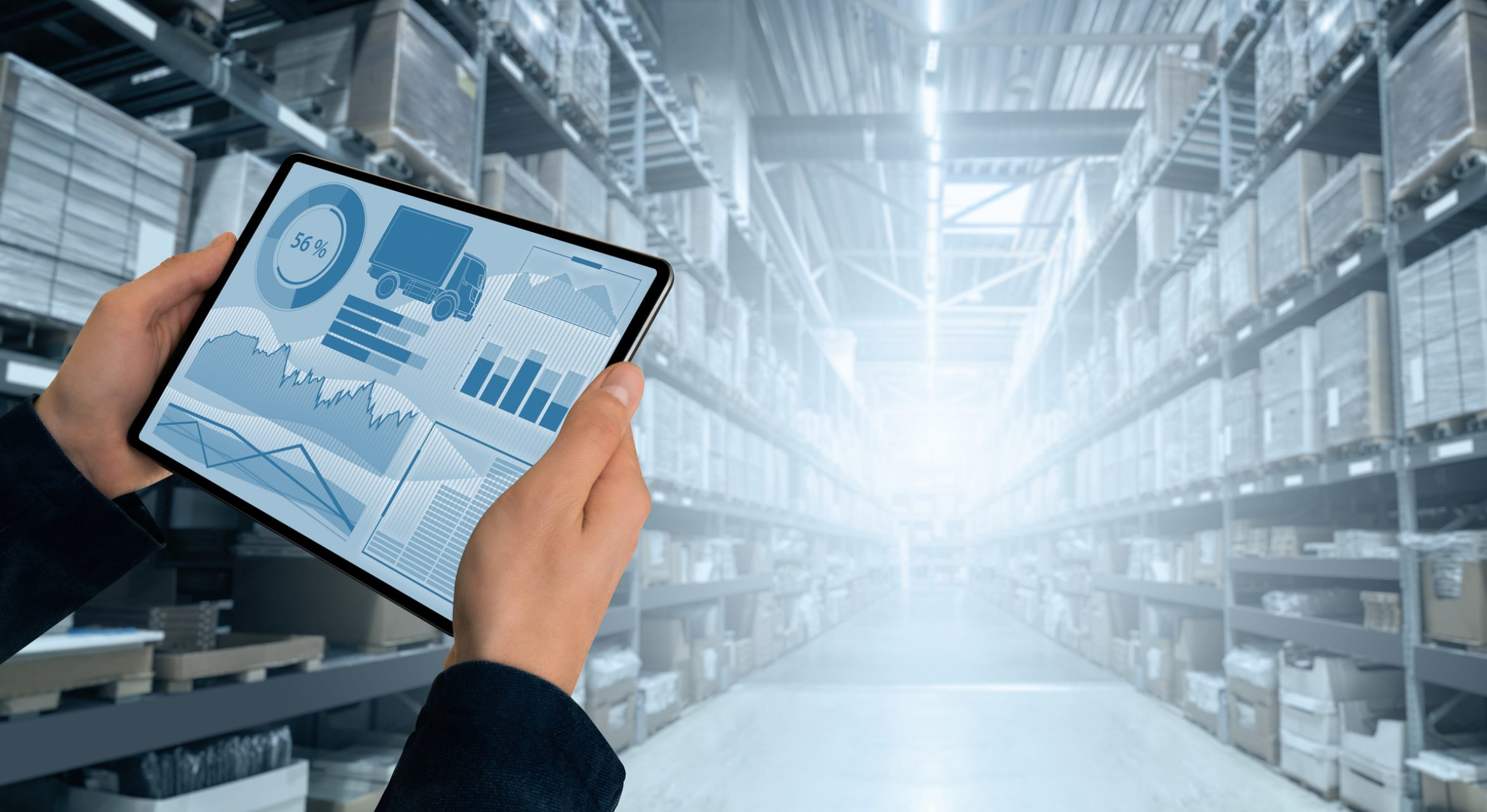 Warehouse manager with digital tablet